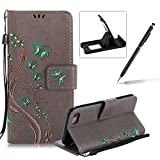 Strap Case for iPhone 7 Plus,Smart Leather Cover for iPhone 7 Plus,Herzzer Stylish Butterfly Flower Design Wallet Folio Case Full Body PU Leather Protective Stand Cover with Inner Soft Silicone Shell for iPhone 7 Plus 5.5 inch + 1 x Free Black Cellphone Kickstand + 1 x Free Black Stylus Pen - Gray