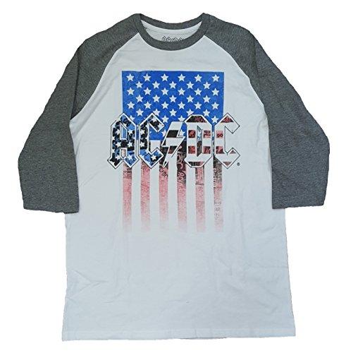 AC/DC American Flag White 3/4 Sleeve Graphic T-Shirt - - Dc Ac Flag