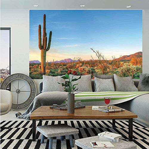 Saguaro Cactus Decor Huge Photo Wall Mural,Sun Goes Down in Desert Prickly pear Cactus Southwest Texas National Park,Self-Adhesive Large Wallpaper for Home Decor 108x152 inches,Orange Blue Green