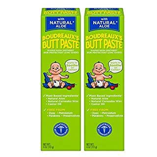 Boudreaux's Butt Paste With Natural Aloe Diaper Rash Ointment, 4 Oz, 2 Pack