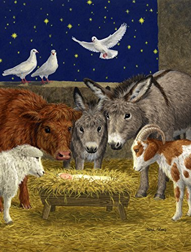 Caroline's Treasures ASA2143CHF Nativity Scene with Just Animals Canvas House Size Flag, Multicolor, Large