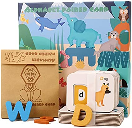 Kids ABC Wood Learning Toys Alphabet Wooden Matching Letters Flash Cards Montessori Preschool Educational