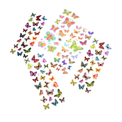 Dengguoli 5 Sheets Colorful 3D Butterflies Scrapbooking Bubble Puffy Stickers on Wall Windows Bottles Books for Kids Children Toddles