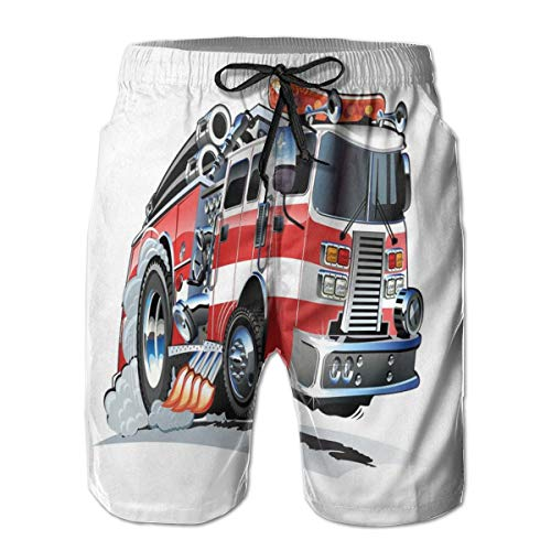 GULTMEE Men Swim Trunks Beach Shorts,Security of The Public Themed Speeding Vehicle Fire Department Dangerous Job XL
