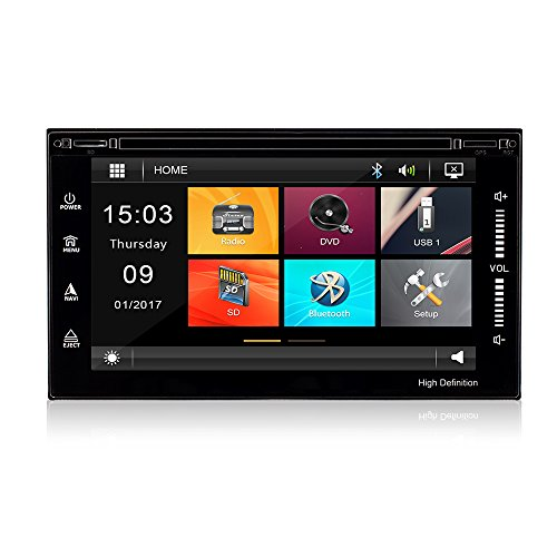 Yingly Two Din 6.5 inch Full Touch Screen Car Stereo System MP4 MP5 Player Car Radio Audio with Bluetooth FM Support 1080P Video Play,Steering Wheel Control,SD/USB,Front and Rear Camera Input.(No GPS)