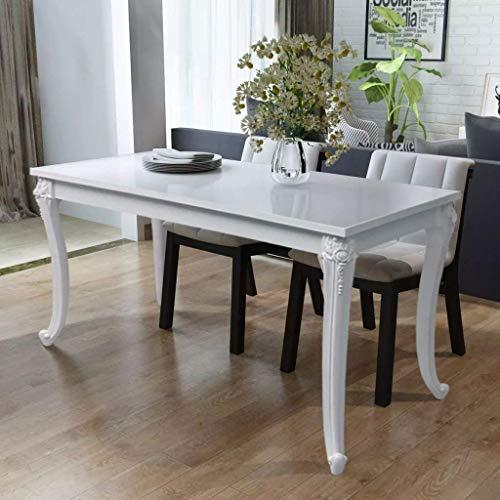 Teak Dining Rectangular Table Set (Vintage Dining Table Classic High Gloss Dinner Room Coffee Tea Table White Rectangular Elegant Breakfast Table Decor Home Furniture 47.2