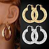 GDSTAR Gold Hoop Earrings Platinum/18K Gold Plated Hollow Round Trendy 015 Vintage Earrings Jewelry