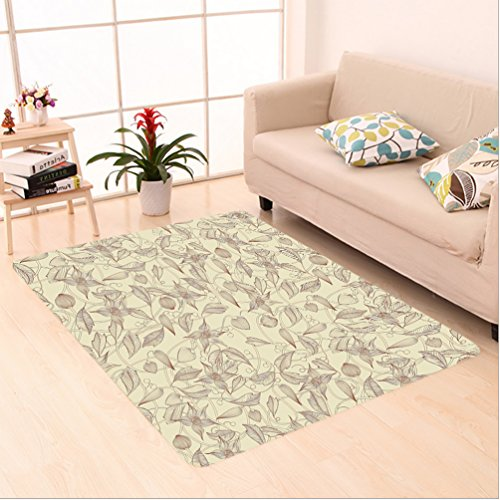 Hand Tufted Bay Leaf (Nalahome Custom carpet ustration Of Retro Unusual Floral Patterns With Complex Lined Leaves And Flowers Boho Chic Beige area rugs for Living Dining Room Bedroom Hallway Office Carpet (24