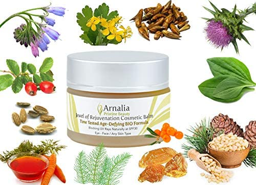 ARNALIA 100% Natural & Organic Wild Herbs, Eye & Face Cosmetic Skin Care Cream, Emollient, Anti Wrinkle, Anti Aging, Age Spot, Firming, Hydrating Balm, Collagen, Vitamin A,C,E,F Moisturizer, SPF 1.1oz