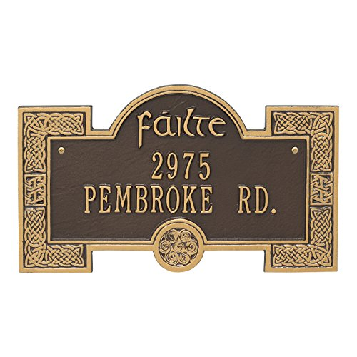Whitehall Personalized Indoor/Outdoor Irish Cead Mile Failte Plaque Sign featuring The Gaelic Welcome, A Hundred Thousand Welcomes (Bronze Gold) by Whitehall