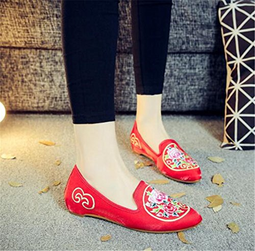 Ricamate Msfs Suole Red Slip Espadrillas Loafer Flats Canvas Da Scarpe On Donna Morbide 6AAOaS