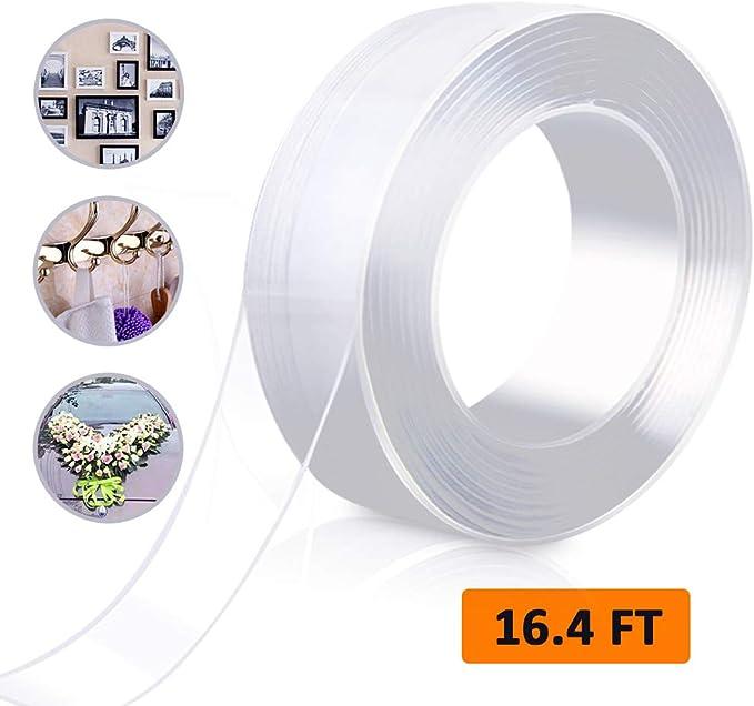 Unique Store 5M Nano Magic Doppelseitiges Klebeband und faltbare Schere,Multifunktionales Transparent Wiederverwendbares Waschbares Spurloses Klebeband Nano Magic Tape f/ür Teppich Fotorahmen K/üche