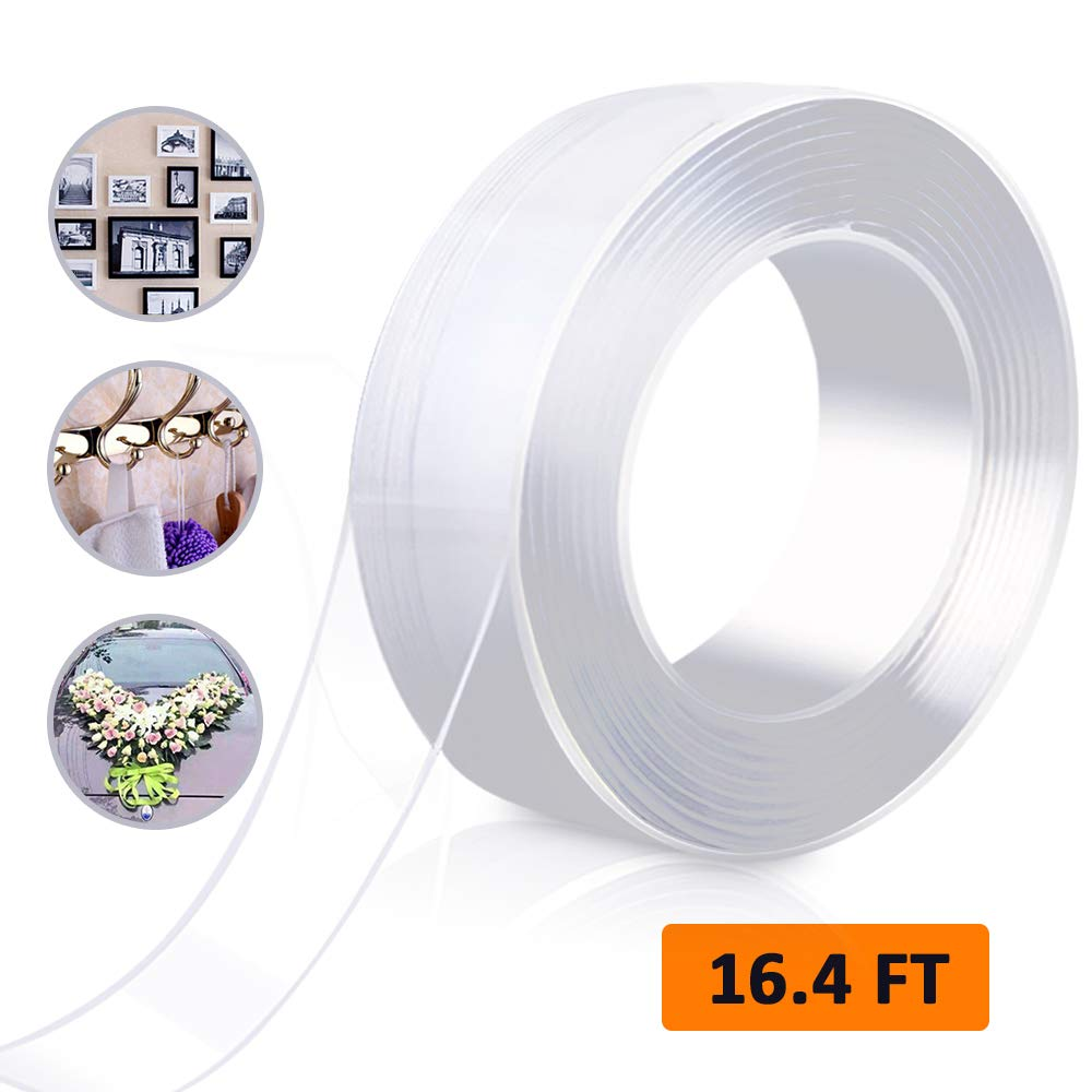 Nano Adhesive Tape Double Sided Washable Silicone Tape, Traceless Removable Reusable Tape Clear Gel Grip Tape for Crafts Paste Photos Fix Carpet Mats or Office Wall Decor/White ... by Nice2you