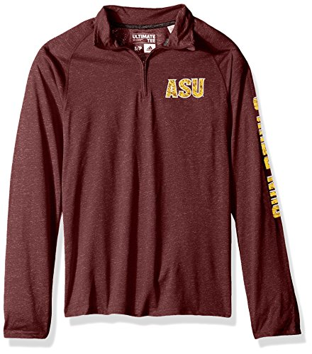 Ultimate College Sports Fan (NCAA Arizona State Sun Devils Adult Men White Noise Casual Ultimate 1/4 Zip Tee, XX-Large, Maroon Heathered)
