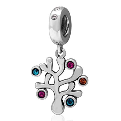 f49969c60 Image Unavailable. Image not available for. Color: Tree of Life Charm with  Crystal Charm 925 Sterling Silver Tree Charm Family ...