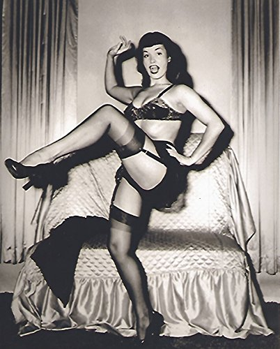 Her Bra Panty - Bettie Page kicking up her heals bra panties garter belt stockings 8 x 10 Photo