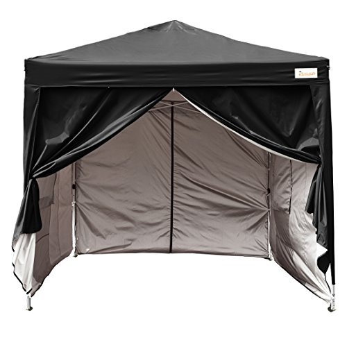 Kingbird 10 x 10 ft Easy Pop up Canopy Waterproof Party Tent 4 Removable Walls Mesh Windows with Carry Bag-7 Colors (black)