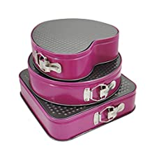 Ancaixin 3 Pieces Set Rose Red Springform Pan Carbon Steel Round Square Heart Shape Different Sizes with Button Bakeware