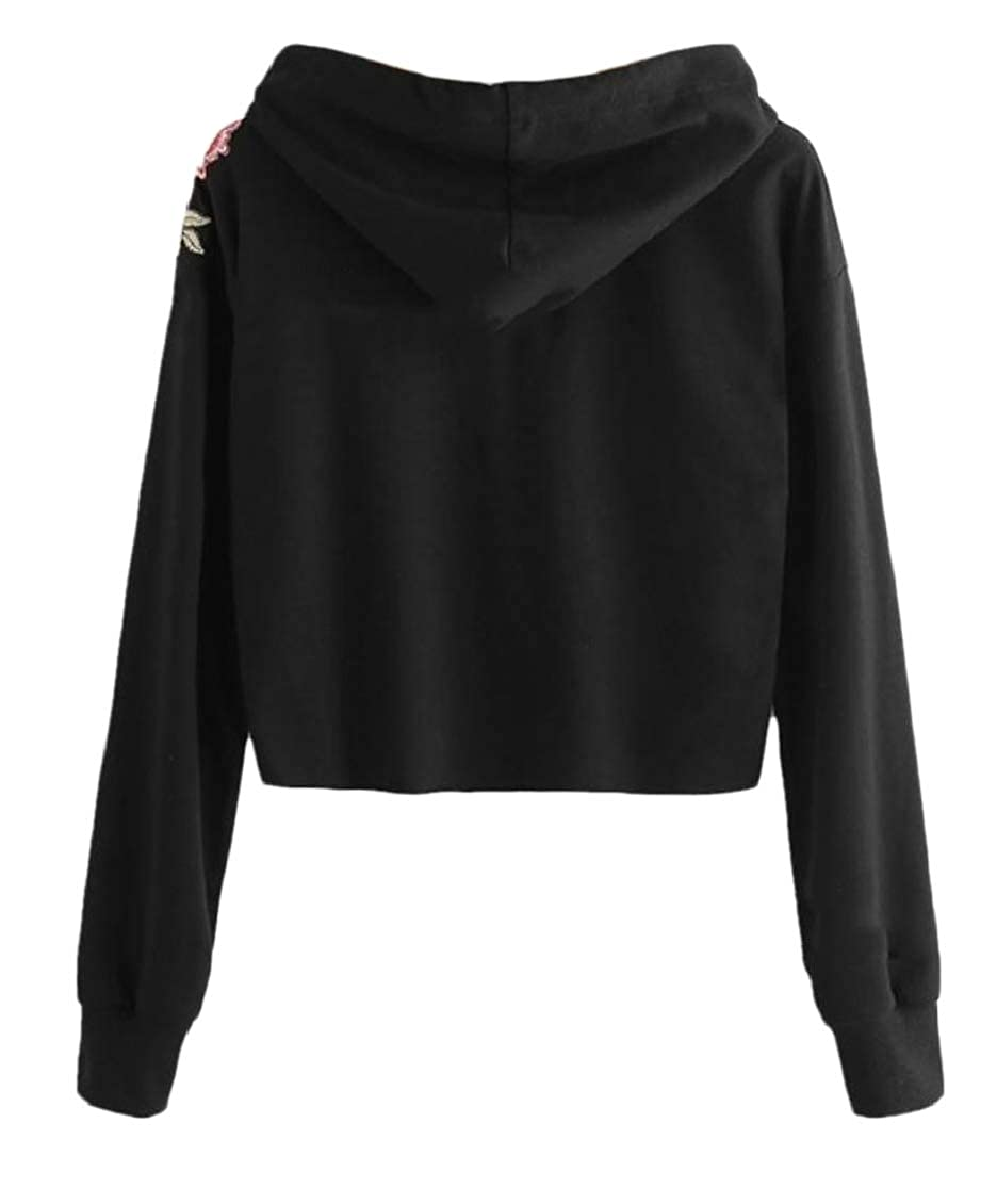 Sweatwater Womens Hoodie Retro Active Crop Embroidered Tops Sweatshirts