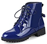 IDIFU Women's Fashion Low Heels Chunky Lace Up Ankle Boots With Bows (Blue, 11 B(M) US)