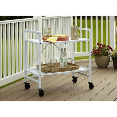Quick and Easy Cosco Folding Serving Cart, Multiple Colors (White) by Cosco
