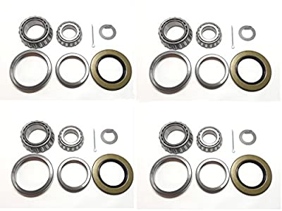 (Set of 4) Trailer Hub Wheel Bearing Kit WPS (TM) 25580 14125A with Double Lip Grease Seals 10-10 (or 10-36) for 5200-7000 lb. Tandem Axles