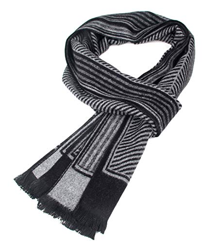 Men Business Striped Warm Scarves Long Classic Pattern Cashmere-like Scarf Stylish Casual Men Neckerchief Black by Panegy (Image #6)