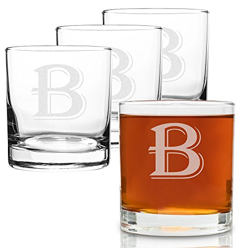 On The Rox 4 Piece Glass Set Engraved with B-Monogram, 11-Ounce