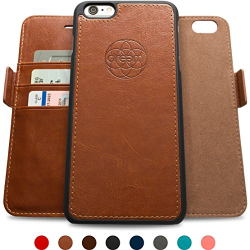 Dreem iPhone 6/6s PLUS Wallet Case with Detachable SlimCase, Fibonacci Luxury Series, Vegan Leather, RFID Protection, H/V Stands, Gift Box - Brown