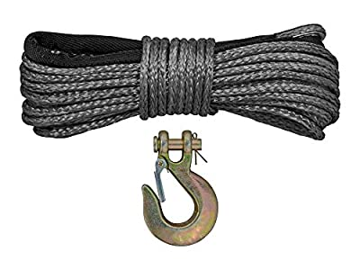 SuperATV Synthetic Winch Rope Replacement 50 ft. with Hook - 4500 lbs.