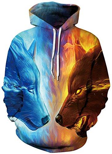 8 Face Fantaisie Capuche Face Hiver Loups shirt Deux Tdolah Sweats À Pull Sweat Homme 3d 64F7gxwqF