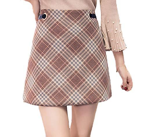 Women's Korean Elegant Mid Bodycon High Waisted Zip Back Plaid Hip Skirts (4-6, Coffee)