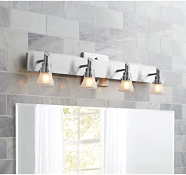 Portfolio 4 Light Brushed Nickel Standard Bathroom Vanity Light Vanity Lighting Fixtures Amazon Com