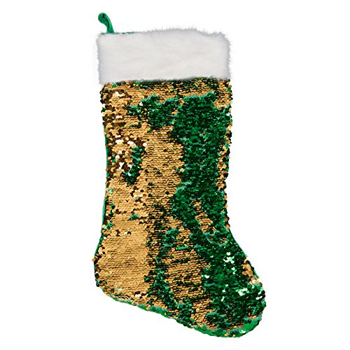 (Green Gold Reversible Sequin Stocking)