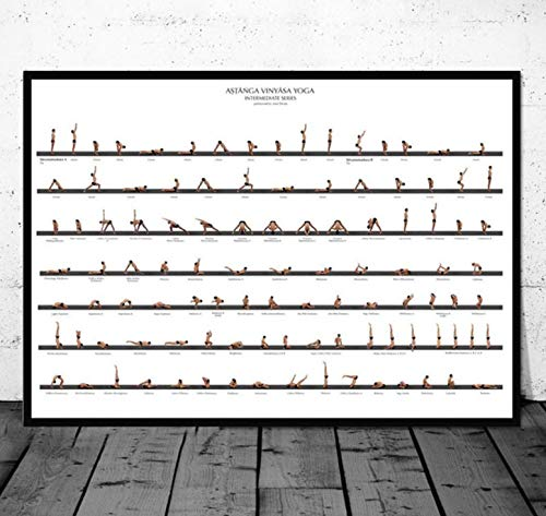 QINGRENJIE Gym Yoga Ashtanga Poster Pose Health Home Exercise Wall Art Canvas Painting Posters and Prints Room Decoraci/ón Decorativa para el hogar 50 70 cm sin Marco