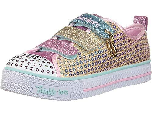 Skechers Kids Girls' Twinkle LITE-Mermaid Magic Sneaker Gold/Multi 2 Medium US Little Kid