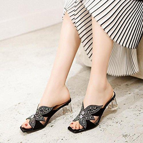 des Talons Ouvertes de Strass Noir d'été Pantoufles Hauts Fleur épais en avec Dames Sandales Sandales Cuir 85wRBxq