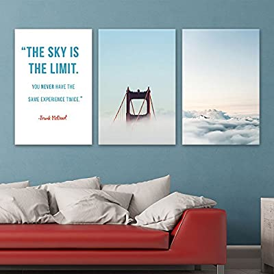 3 Panel Golden Gate Bridge and Mountain Among Clouds and Inspirational Quotes x 3 Panels