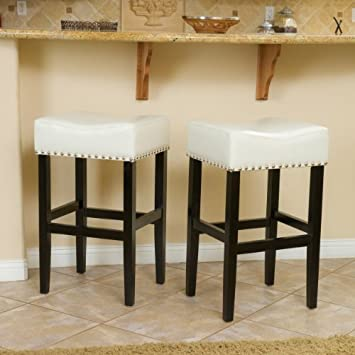 Christopher Knight Home Camilla Ivory Leather Backless Bar Stools w Chrome Nailheads Set of 2