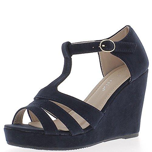 Sandales compensées bleues à talons de 9,5 cm et plateforme effet daim