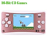 """Kids Handheld Game Console Retro Video Game Player Portable Arcade Gaming System Birthday Gift for Children Travel Recreation 2.5"""" Color LCD Screen 16 Bit 168 Classic Games(Rose Gold)"""
