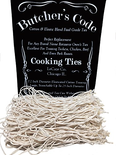 Rotisserie Elastic and Cotton Blend – Stretchy Twine – Food Grade – Heat Safe – Cooking Ties – Poultry Loops – 50 Pack