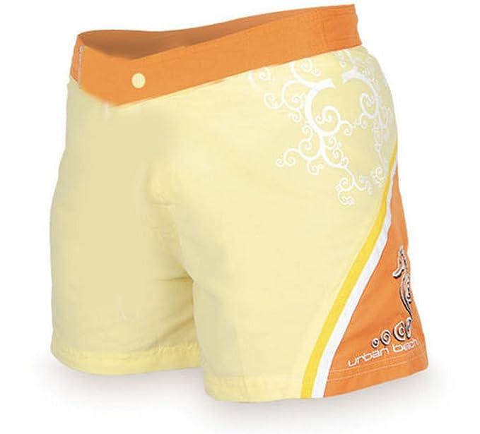 Ladies Urban Beach Orange Yellow Surf Board Shorts Summer Swim Casual Wear New