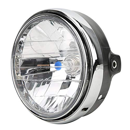 Acouto 7inch Motorcycle Headlight, Retro Headlamp Front Headlight Fit for CB400/Hornet 250/VTEC(Clear Lens)