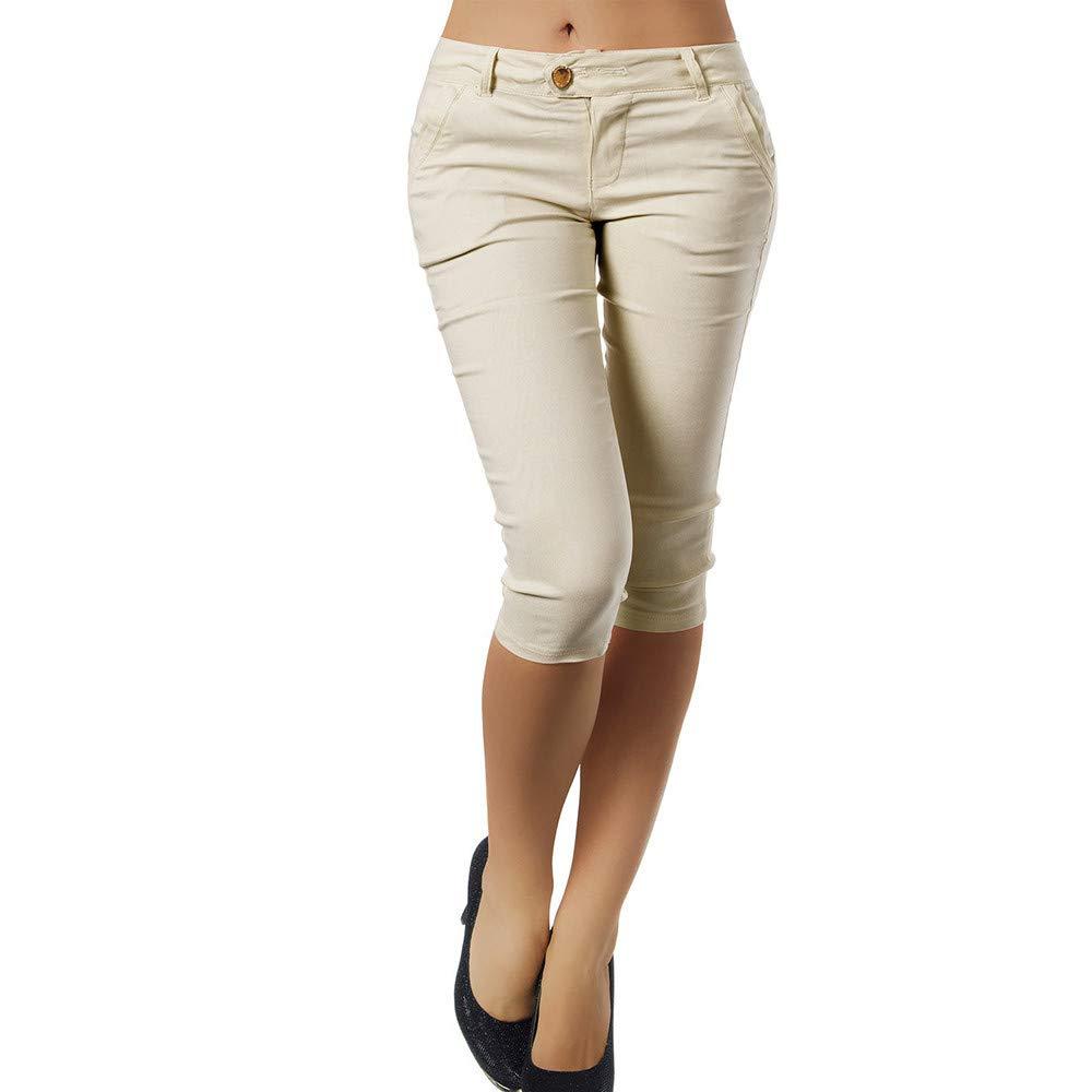 Pervobs Women Plus Size Solid Button Zipper High Waist Calf-Length Pants Trousers(S, Beige)