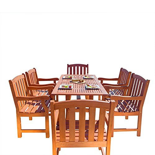 VIFAH V187Set27 Outdoor Seven-Piece Wood Dining Set with Rectangular Curvy Table and 6 Armchairs