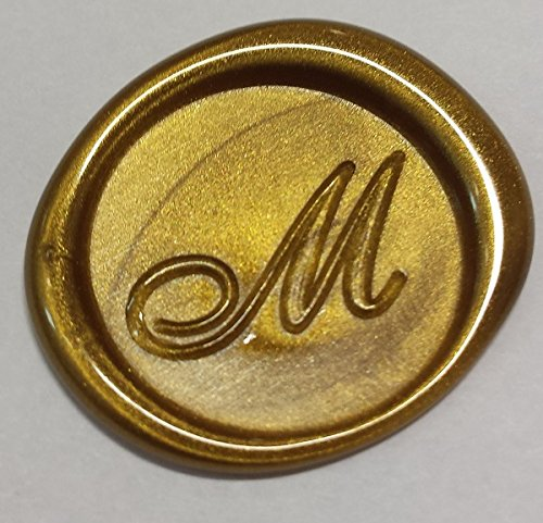 100 pack of Wax Seals: Self adhesive wax seal sticker - M - Shelley Allegro Font - Metallic Gold - 1