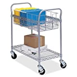 Safco Wire Mail Carts-Steel Mail Carts,75lbCap,18-3/4''x39''x38-1/2'',150 Fldr,GY