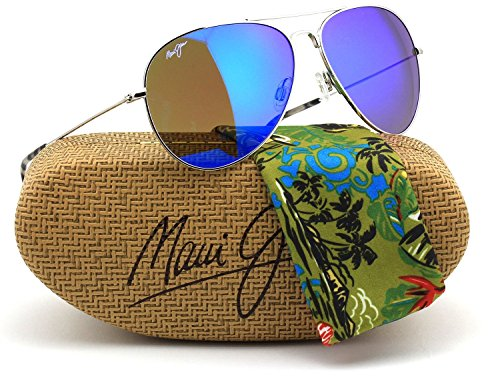 Maui Jim B264-17 MAVERICKS Silver Titanium Frame / Polarized Blue Hawaii - Maui Sport Titanium Jim