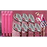 """Women's iDrive Golf Clubs All Ladies Pink Hybrid Complete Full Set which Includes: #5, 6, 7, 8, 9, PW +SW Lady Flex Right Handed New Rescue Utility """"L"""" Flex Club"""